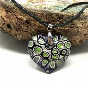 Jewelry - LARGE HEART SHAPED MULTI COLOR PENDANT NECKLACE
